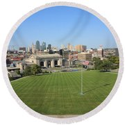 Kansas City Skyline And Park Round Beach Towel