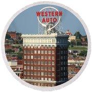 Kansas City - Western Auto Building 2 Round Beach Towel