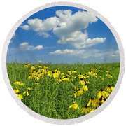 Kansas Prairie Round Beach Towel