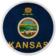 Kansas State Flag Art On Worn Canvas Round Beach Towel