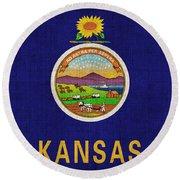 Kansas State Flag Round Beach Towel by Pixel Chimp