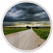 Kansas Storm In June Round Beach Towel