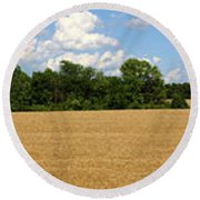 Kansas Wheat Field 3a Round Beach Towel