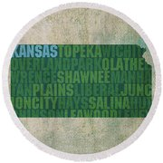 Kansas Word Art State Map On Canvas Round Beach Towel