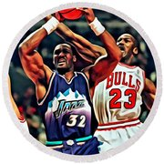 Karl Malone Vs. Michael Jordan Round Beach Towel