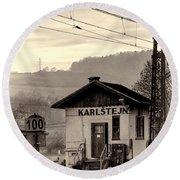 Karlstejn Railroad Shack Round Beach Towel by Joan Carroll