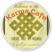 Karma Cafe Round Beach Towel