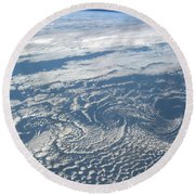 Karman Vortex Cloud Streets From Space Round Beach Towel