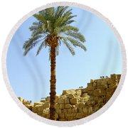 Karnak Temple 12 Round Beach Towel