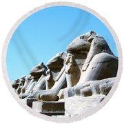 Karnak Temple Statue 14 Round Beach Towel