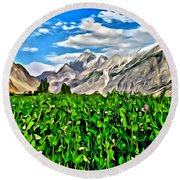 Kashmir Field Round Beach Towel