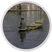 Kashmiri Men Rowing Many Small Wooden Boats In The Waters Of The Dal Lake Round Beach Towel