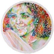 Kathleen Battle - Watercolor Portrait Round Beach Towel