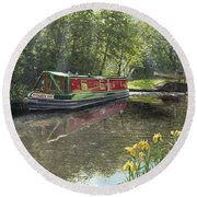 Kathleen May Chesterfield Canal Nottinghamshire Round Beach Towel