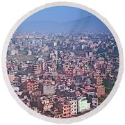 Kathmandu From The Airplane-nepal  Round Beach Towel