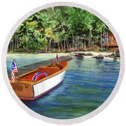 Kathy's Boat Round Beach Towel