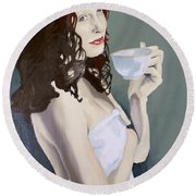 Katie - Morning Cup Of Tea Round Beach Towel