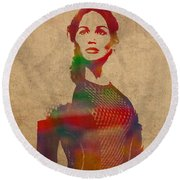 Katniss Everdeen From Hunger Games Jennifer Lawrence Watercolor Portrait On Worn Parchment Round Beach Towel