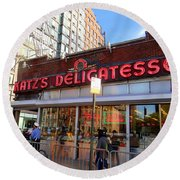 Katz's Delicatessan Round Beach Towel