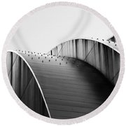 Kauffman Center Black And White Curves Photography Round Beach Towel