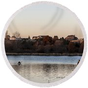 Kayak At Sunset Round Beach Towel