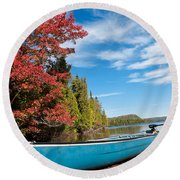 Kayak Boat During Sunny Day  Round Beach Towel