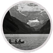Kayak On Lake Louise Round Beach Towel