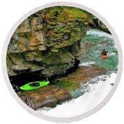 Kayakers In Maligne Canyon In Jasper Np-alberta Round Beach Towel