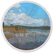 Kayaking At Lake Juliette Round Beach Towel