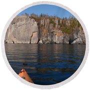 Kayaking Beneath The Light Round Beach Towel