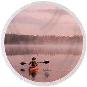Kayaking On Starrett Lake At Sunrise Round Beach Towel