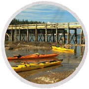 Kayaks By The Pier Round Beach Towel