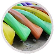 Kayaks In A Row Round Beach Towel