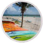 Kayaks On The Beach Round Beach Towel