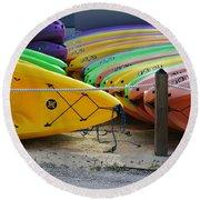 Kayaks Stacked Round Beach Towel