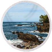 Keanae Coast - The Rugged Volcanic Coast Of The Keanae Peninsula In Maui. Round Beach Towel