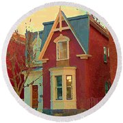 Keep A Light In The Window Til I Come Home Again Winter House Pointe St Charles City Scene Cspandau  Round Beach Towel
