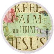 Keep Calm-trust In Jesus-3 Round Beach Towel