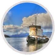 Keep Off Old Ship Round Beach Towel