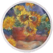 Keep On The Sunny Side - Original Contemporary Impressionist Painting - Sunflower Bouquet Round Beach Towel