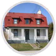 Keeper's House - Presque Isle Light Michigan Round Beach Towel