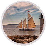 Keeping Vessels Safe Round Beach Towel by Karol Livote