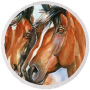 Horse Painting Keeping Watch Round Beach Towel