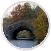 Kelly Drive Rock Tunnel In Autumn Round Beach Towel