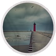 Kenosha North Pier Lighthouse - Dark And Stormy Round Beach Towel