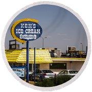 Ken's Ice Cream Sandwiches Round Beach Towel