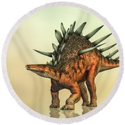 Kentrosaurus Dinosaur Round Beach Towel by Bob Orsillo