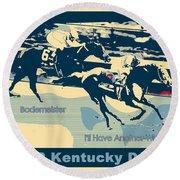 Kentucky Derby Champion Round Beach Towel by RJ Aguilar