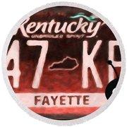 Kentucky License Plate Round Beach Towel