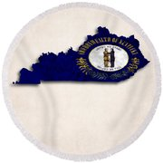 Kentucky Map Art With Flag Design Round Beach Towel